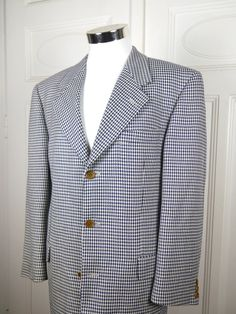 German Vintage Hugo Boss Houndstooth Blazer, Black White Checked Jacket, XL European Dogtooth Wool Cashmere Sport Coat: Size 42 US/UK by YouLookAmazing on Etsy