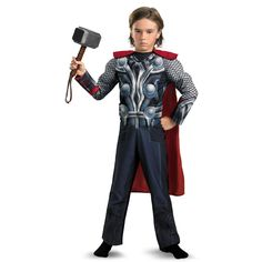 Kids Avengers Thor Muscle Light Up Costume, Not Just for Halloween!  Toy hammer not included  Official Marvel Licensed Costume