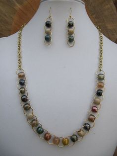 earth tone antique pony bead and gold chain necklace and earring set #otb