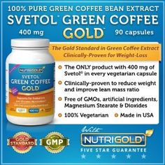 SVETOL Green Coffee Bean Extract, 400mg, 90 Vegetarian Capsules (The ONLY Product with 400mg of Clinically-Proven Svetol per Capsule - The Gold Standard Extract Proven in 8 Research Studies)