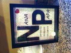 Nana papa gift with grand kids birthdays on it :)