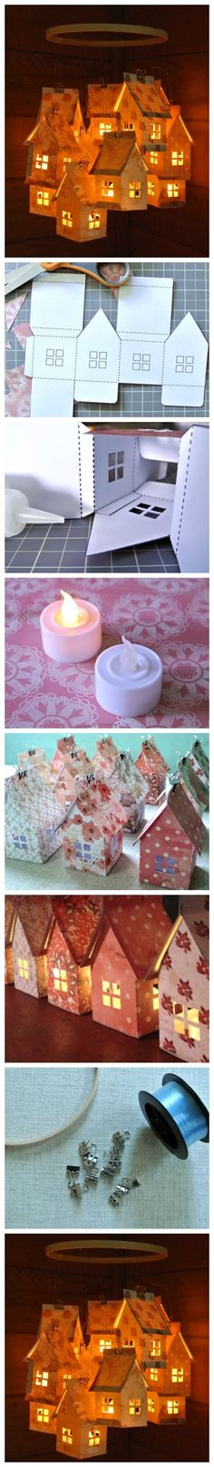 Christmas DIY: Paper House Luminari Paper House Luminaries and Mobile Noel Christmas, Christmas Crafts, Christmas Decorations, Christmas Ornaments, Diy Paper, Paper Art, Paper Crafts, Diy And Crafts, Crafts For Kids