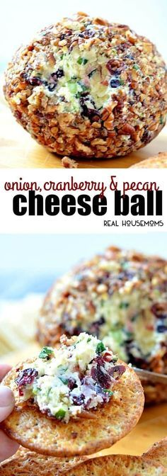 Onion, Cranberry & Pecan Cheese Ball is an easy to make recipe that tastes amazing and has the most beautiful colors!!! Your friends will go nuts for this make-ahead appetizer! #Realhousemoms #Makeaheadappetizer #Cranberrypecancheeseball #Holidayappetizer