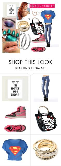 """B My Superman"" by lamenk99 ❤ liked on Polyvore featuring WALL, NIKE, Hello Kitty, Essie, hoop earrings, big bangles, neon nail polish and nikes"