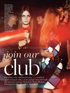 Join Our Club: #BroganLoftus by #AlasdairMcLellan for #VogueUK September 2014