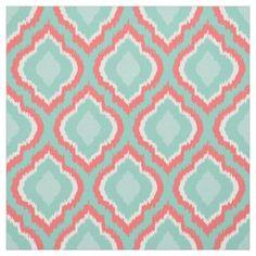 Coral Aqua and Mint Ikat Moroccan Fabric