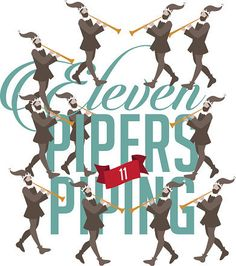 Eleven pipers piping the Twelve days of Christmas EPS 10 vector illustration Christmas Clipart, Christmas Tag, Little Christmas, Christmas Projects, Christmas Humor, Vintage Christmas, Christmas 2019, Christmas Float Ideas, Christmas Party Themes