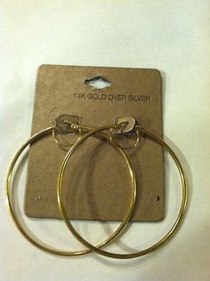 $7.00 14k Gold Plate Over Silver Fashion Hoop Earrings Stunning | eBay