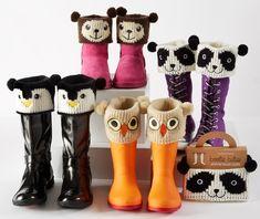 Ну а тем родителям, которые уже приобрели осенние сапоги для ребенка (или подходящие остались с предыдущего сезона), однако их дизайн скучен и однообразен, свою помощь предлагают дизайнеры забавных манжет в анималистичном стиле Animal Boot Cuffs.