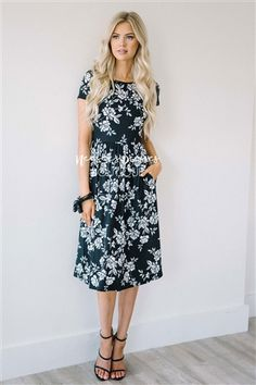Black White Gray Floral Pocket Dress, Modest Dress Bridesmaids Dress, best modest boutique, cute modest clothes, modest dresses, best online modest boutique, floral dresses, modest dresses for church, modest skirts, buy modest clothes online