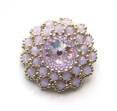 Brooch Beaded Swarovski Lilac Opal Crystals by vantageJewellery