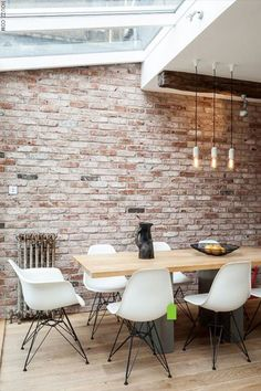 Exposed brick walls in kitchen