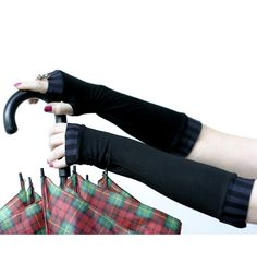 Very soft black  striped stretch fingerless gloves by WearMeUp