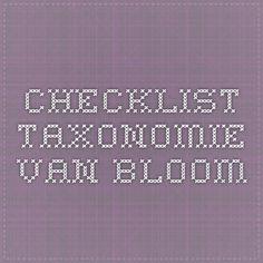 checklist taxonomie van Bloom