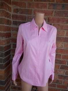 LILLY PULITZER Zip Blouse Size 10 Palm Logo Stretch Shirt Top Long Sleeve Pink #LillyPulitzer #Blouse #Casual