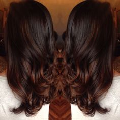 rich chocolate brown red balayage - Google Search