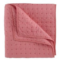 Girls Quilts: Cozy Pink Stitched Quilt in Kids Blankets