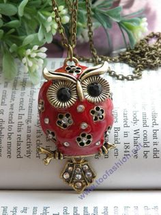 Pretty Retro Pendant with Chain - Copper Red Feather Owl on Branch