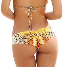 8cfaeded77 Colorful Snake Print Scrunch Cheeky Shorts Bikini Bottom