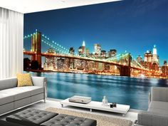 Brooklyn Bridge at Night wall mural room setting