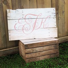 Rustic Large Nursery Monogram initials hand painted reclaimed pallet wood sign little girl room vintage shabby chic boy by WehuntWoodDecor on Etsy https://www.etsy.com/listing/263609770/rustic-large-nursery-monogram-initials