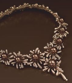 Bergio's 18k pink gold necklace with chocolate South Sea pearls and diamond pavé  #MillionDollarShoppersHeather