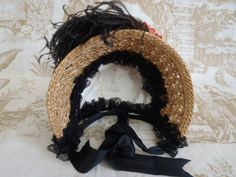 Vintage Natural Straw Black Velvet Bonnet for BEBE Jumeau German Doll Size 14 | eBay
