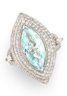 3.98 ct Paraiba Tourmaline Marquise & 1.60 ctw Diamond Baguette & Round 18K White Gold Ring Size 7.75 - Gem Shopping Network Item #416-3317