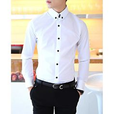 Solid Color Shirt Collar Long Sleeves Cotton Shirt For Men, WHITE, 170 in Shirts | DressLily.com