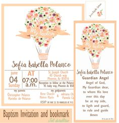 Baptism Invitation and bookmark de JoliDetallitos en Etsy
