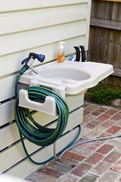 Amazon.com: Portable Outdoor Sink With Detachable Hose Reel U0026 Garden Tool  Holder: