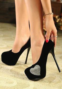 silver heart black heel