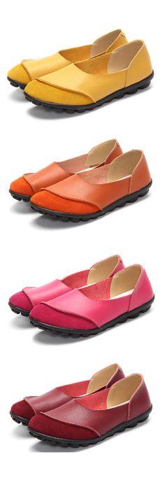 US$14.76  Big Size Color Match Soft Comfy Ballet Pattern Casual Flat Shoes