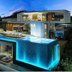 142 stunning modern dream house exterior design ideas-page 4 Dream Home Design, Modern House Design, Cool House Designs, Pool Designs, Luxury Homes Dream Houses, Luxury Life, Modern Mansion, Modern Houses, Dream House Exterior