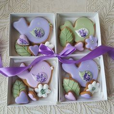 Box Bird 10 cm and 4 small gingerbread cookies. Mother's Day Cookies, Fancy Cookies, Iced Cookies, Cute Cookies, Easter Cookies, Sugar Cookies, Cookie Icing, Royal Icing Cookies, Iced Biscuits