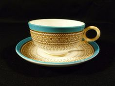 A breakfast cup, not a demitasse: SIGNED BLUE & GOLD ROYAL WORCESTER CUP & SAUCER - REGISTRY MARK - CIRCA 1880 #RoyalWorcester