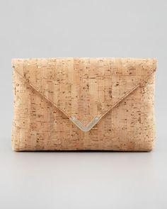 Bella Cork Envelope Clutch Bag, Natural by Elaine Turner at Neiman Marcus.♡