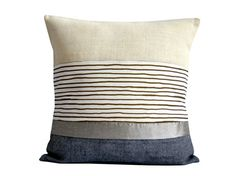Gray and Silver pillow . Handmade cushion by by Beccatextile