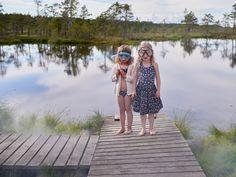 Katrina Tang Photography for OEUF NYC SS 16 Marshland. Two girls standing near a swamp lake, swimming goggles #katrinatang #tangkatrina