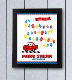 Cumpleaños cars Cuadro huellas coche / pdf / fiesta niño Baby shower regalo arbol huella firmas recuerdo rayo disney niño primer segundo 2