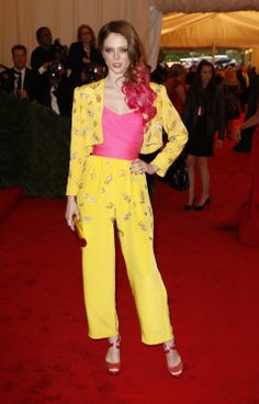 Coco Rocha in Vintage Givenchy:  Love the colours but i hate the whole outfit and look.