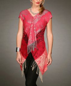 Take a look at this Red Fringe Top by Firmiana on #zulily today! $19 !!