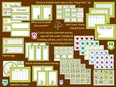 """Includes days of the week and months. Now I have my """"calendar"""" area! Classroom Lables, Owl Theme Classroom, Classroom Organization, Preschool Classroom, Future Classroom, Classroom Management, Classroom Ideas, Calendar Bulletin Boards, Classroom Calendar"""
