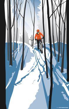 Mountain Biking in the Snow bicycle art illustration.  #shadows