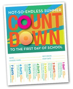 Back-to-School Countdown Poster. Kids rip tabs to earn rewards and remember to go to sleep earlier.