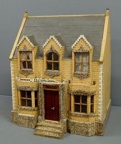 """English Victorian dollhouse """"Netta Villa with original paint decoration and some accessories, purchased in Edin. on Jun 2009 Victorian Books, Victorian Dollhouse, Modern Dollhouse, Dollhouse Kits, Dollhouse Dolls, Dollhouse Miniatures, Miniature Houses, Miniature Dolls, Antique Toys"""