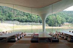 Meiso no Mori Municipal Funeral Hall designed by Toyo Ito, Kakamigahara-shi, Gifu, Japan. Conceptual Architecture, Japanese Architecture, Classical Architecture, Futuristic Architecture, Facade Architecture, Landscape Architecture, Futuristic Design, Sustainable Architecture, Toyo Ito