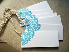 Folded Lace Doily Gift Tags, Mini Note Card Set, Wedding Place Escort Cards, Favor Tags on Etsy Favor Tags, Gift Tags, Diy Paper, Paper Crafts, Wedding Place Cards, Wedding Table, Diy Wedding, Lace Wedding, Paper Doilies