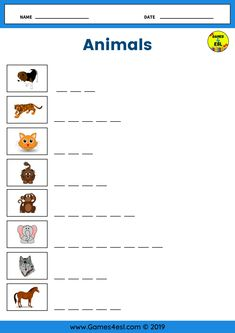 An animals vocabulary worksheet to practice writing and spelling animal names in English. Great for kids and beginner English language learners. Spelling Worksheets, Animal Worksheets, Vocabulary Worksheets, Writing Worksheets, Esl Worksheets For Beginners, English Worksheets For Kids, Animals Name In English, Back To School Images, English Language Learners