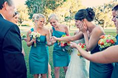 Bridesmaids in Teal - Rustic Outdoor Florida Wedding - Coral Flowers - Laura Ross Photography